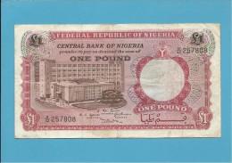 1 POUND - ND ( 1967 ) - P 8 - Serie B/82 - CENTRAL BANK OF NIGERIA - Nigeria
