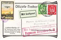 GERMANY  AEROPHILATELIC  FIRST  FLIGHT  FLUGPOSTAMT  DRESDEN 1924 - Airmail