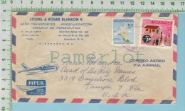 Nicaragua Correo Aereo Commercial Cover 1907 ( Leonel & Roger Blandon V. + Piper Desing ) 2 Scan - Nicaragua