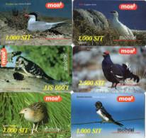 RECHARGES GSM SLOVENIE  1000/2500 SIT  Oiseaux Birds  (lot De 6) *** - Slovénie