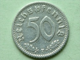 1942 F - 50 ReinchsPfennig - KM 96 ( Uncleaned Coin / For Grade, Please See Photo ) !! - 50 Reichspfennig