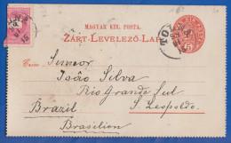 Ungarn; PC Zart Levelezö Lap 5 Kr Plus Zusatzfrankatur 5 Kr; 1898 Von Tolna Nach Brasilien; Brazil - Entiers Postaux