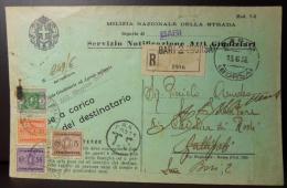 BARI - 1936 13 Giugno RACCOMANDATA PER GALLIPOLI RESTITUITA AL MITTENTE - SEGNATASSE 50 - 5 .. CENT- 2 LIRE- VEDI FOTO - 1900-44 Victor Emmanuel III