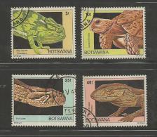 BOTSWANA 1980 CTO Stamp(s) Reptiles 243-246  #1609 - Reptiles & Amphibians