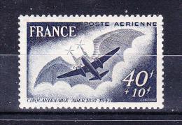 FRANCE  1948       Ader  Flight  50 Years   ,      Y&T   Air   #    23 ,    Cv  2.00  E  ,    ** M N H , V V F - Francia