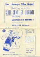 Holsbeek  (  Leuven ) CIDER  Likeurstokerij 'De Hasseltberg )  Reklame Folder Met Prijslijst  ( Formaat 21.5 X 15.5 Cm ) - Belgique