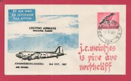 RSA 1967 First Flight  Maseru - Johannesburg  With Address - Airplanes