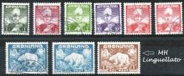 """Groenlandia (Greenland) – 1938-1945  """"Re Cristiano IV E Orso Polare, Lotto Di 9 Francobolli"""" Usato (1 Linguellato) - Used Stamps"""