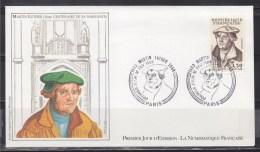 = Martin Luther 5ème Centenaire De Sa Naissance Paris 12 2 83 N°2256 Enveloppe 1er Jour Portrait - 1980-1989