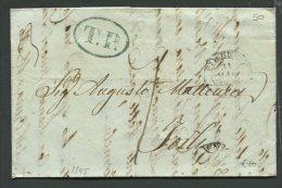 1849  RARA PREFILATELICA  DA  FIRENZE  X FORLI   T.P. IN CARTELLA VERDE INTERESSANTE CONTENUTO - 1. ...-1850 Prefilatelia