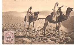 POSTAL   SCENES ET TYPES  - MEHARISTES TRAVESANT LES DUNES - Postales