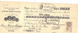 Lettre Change 16/11/1933 MONNIER MONTANGE Soie Laine St Pierre LYON Rhône Pour Pouilly Sur Loire Nièvre - Timbre  Fiscal - Lettres De Change