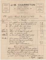 69 LES HALLES Près SAINT LAURENT DE CHAMOUSSET St FACTURE 1936 Menuisier ébéniste J CHARRETON   - T43 - France