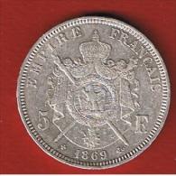 Napoléon III  //   5 Francs  1869 BB  //   Etat TTB // - J. 5 Franchi