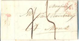 _R475: Brief Verstuurd Uit DIXMUDE 20 MAI 1844 > MONS 21 MAI 1844 : Gewijzigde Aanduiding Port  ... - 1830-1849 (Belgique Indépendante)