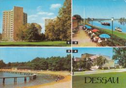 CPA DESSAU- APARTMENT BUILDINGS, BEACH, RIVER BANKS, BOATS, THE TEATRE - Dessau