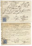 Amministrazione Delle Tasse Sugli Affari 1920 2 Bollete C.1537 - Bills Of Exchange