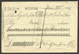 XT37 Cheque Bank Of Ireland Waterford 1881 - Cheques & Traveler's Cheques
