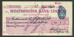 XT47 Cheque England Westminster Bank Ltd 2 Chestergate Macclesfield 1958 - Cheques & Traveler's Cheques