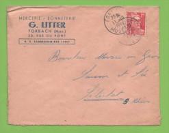 FORBACH  11.10..1949  Moselle Entête: Mercerie Bonneterie G.Litter - Marcophilie (Lettres)