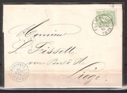 30 S/lettre De Flémalle Pour Liège. - 1869-1883 Leopold II