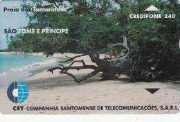 SAO TOME & PRINCIPE - Tamarinds Beach(240 Units), CN : 911L, Tirage 4000, Used - Sao Tome And Principe