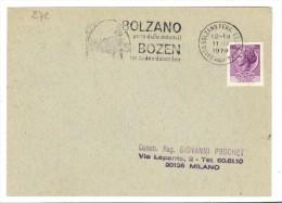 """272/500 - REPUBBLICA , Annullo Targhetta """" BOLZANO PORTA DELLE DOLOMITI..  """" 1970 - 6. 1946-.. Repubblica"""