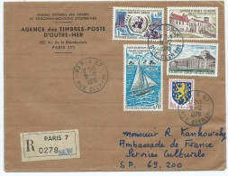 (5) Enveloppe Avec TIMBRES (NATIONS UNIES,ABBAYE De CHANCELADE,ALAIN GERBAULT,ARC Et SENANS,TROYES )(oblitération 1970) - France
