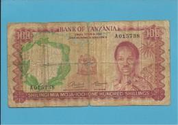 100 SHILLINGS - ND ( 1966 ) - P 4 - Sign. 1 - Serie A - BANK OF TANZANIA - Tanzanie