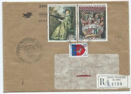 (7) Enveloppe Avec TIMBRES (WATTEAU, Eglise Saint Austremoine ISSOIRE,SAINT LO)(oblitération 1974) - France