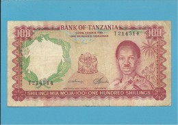 100 SHILLINGS - ND ( 1966 ) - P 5b - Sign. 3 - Serie T - BANK OF TANZANIA - Tanzania