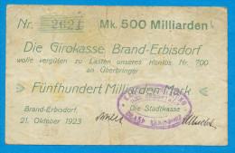 NOTGELD DEUTSCHLAND, 500 MILLIIARDEN MARK, EINSEITIG, DIE GIRROKASSE BRAND-ERBISDORF, 1923, RARE! - [11] Local Banknote Issues