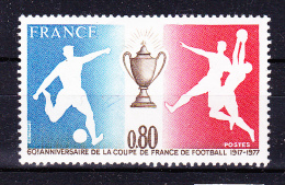 FRANCE 1977  ,   Football France Cup 60 Years   ,   Y&T #  1940 ,  Cv  1.00  E  ** M N H , V V F - Nuovi