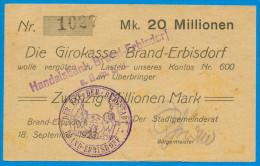 NOTGELD DEUTSCHLAND, 5 MILLIONEN MARK, EINSEITIG, DIE GIRROKASSE BRAND-ERBISDORF, 1923, RARE! - [11] Local Banknote Issues