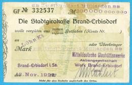 NOTGELD DEUTSCHLAND, 200 MILLIARDEN MARK, EINSEITIG, DIE STADTGIRROKASSE BRAND-ERBISDORF, 1923, RARE! - [11] Local Banknote Issues