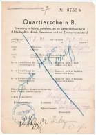 Quartierschein, Standortcommandatur De Panne, Duitse Stempel WW2 Met Adelaar En Hakenkruis, Uniek Document - Documents Historiques