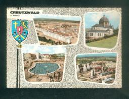 CPSM  - Creutzwald ( Moselle 57) - Multivues ( Vue Aérienne Sidérurgie Charbon Cités Piscine ...COMBIER CIM) - Creutzwald