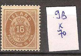Islande 9B *  Côte 70 € - 1873-1918 Dependencia Danesa