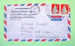 USA 1990 Cover Kalamazoo To Czechoslovakia - Greetings Christmas Tree (stamps Damaged) - Etats-Unis
