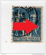 YT 101 - Sage 15c Bleu - Variété Anneau Lune - CAD Orne - 1876-1898 Sage (Type II)