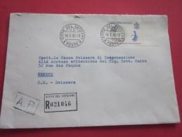 Lettera Cita 'del Vaticano Vatican Recommandata AR Pour Genève Suisse Helvetia Marcophilie 14 Janvier 1980 - Vaticano (Ciudad Del)