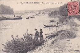 22549 VILLENEUVE Saint Georges - Vue Panoramique Seine -M Burat Ed Pecheur Barque Peniche Tampon Convoyeur - Villeneuve Saint Georges
