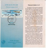 Stamped Information On  Diamond Jubilee I.A.F.  Se-tenent IAF, Airplane, Helicopter, Defence., India 1992, As Scan - India