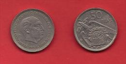 SPAIN 1957, Circulated Coin, 50 Pesetas,Franco, Km 788, C1720 - [ 5] 1949-… : Koninkrijk