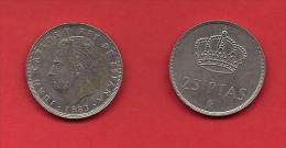 SPAIN 1975, Circulated Coin, 25 Pesetas, Juan Carlos,   C1722 - 25 Peseta