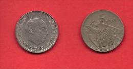 SPAIN 1957, Circulated Coin, 5 Pesetas, Franco,  Km786, C1725 - 25 Peseta