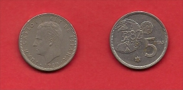 SPAIN 1975, Circulated Coin, 5 Pesetas, Worldcup Soccer,  Km 817, C1727 - 25 Peseta