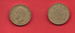 SPAIN 1982-1990, Circulated Coin, 10 Pesetas, Cien, Copper Nickel,  Km 827, C1729 - [ 5] 1949-… : Kingdom