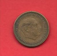 SPAIN 1953, Circulated Coin, 2,5 Pesetas, Aluminum-bronza,  Km 785, C1732 - [ 5] 1949-… : Koninkrijk