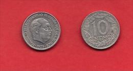 SPAIN 1959, Circulated Coin, 10 Centimos,Franco, Aluminum,    Km790, C1738 - [ 5] 1949-… : Koninkrijk